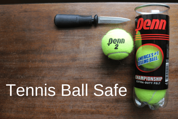 Travel hack tennis ball safe