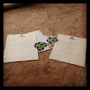 Tortuga stickers with handwritten letters