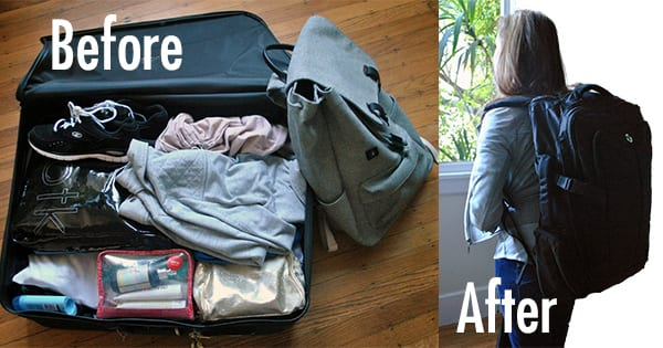 Before and after packing makeover