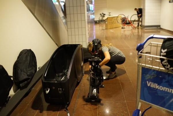 Bike storage in Stockholm airport