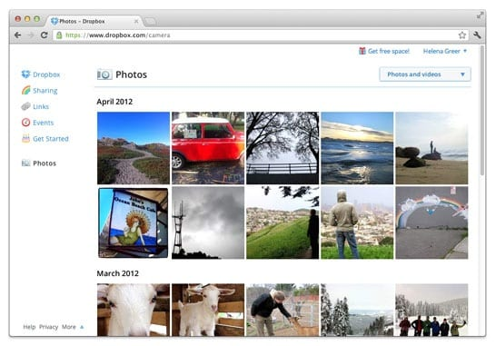 Dropbox photos on web
