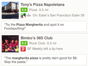 Foursquare search results for margherita pizza