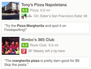 Foursquare search results for margherita pizza