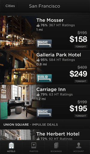 Hotel Tonight last-minute hotels in San Francisco