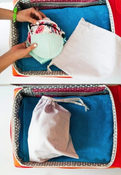 Protect bras and underwear by packing in a soft bag