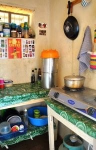 The inside of a Peace Corps Volunteer's kitchen in Madagascar
