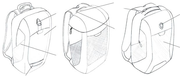 Tortuga Daypack first sketches
