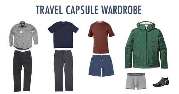 Travel capsule wardrobe example