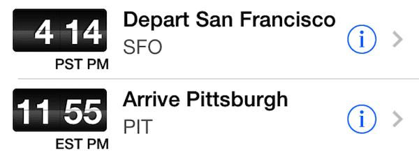 TripIt flight times