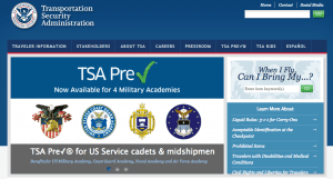 screen shot of tsa.gov