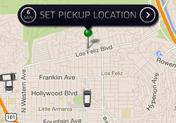 Uber app set pickup location