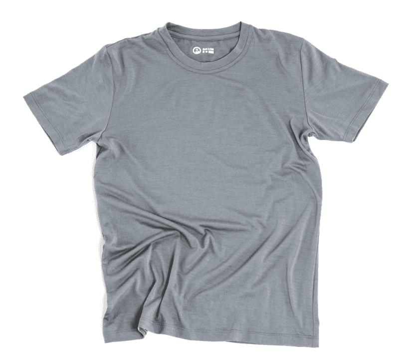 A blue Outlier t-shirt.