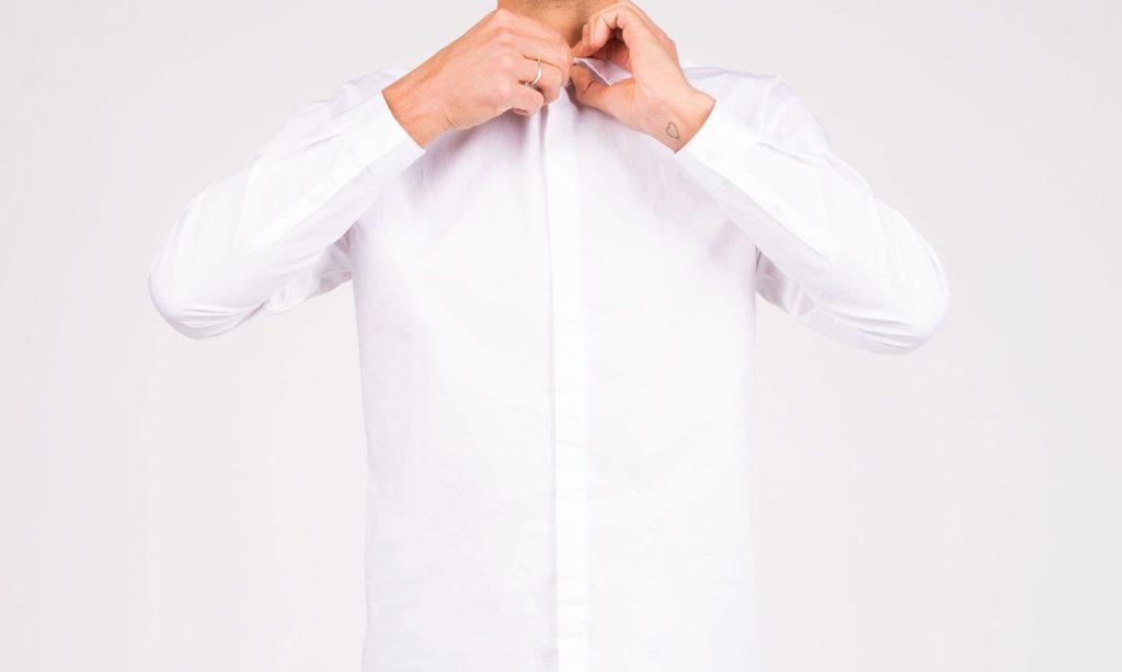 A crisp white dress shirt.