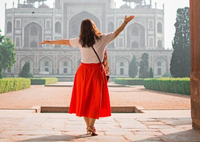 Woman wearing orange skirt