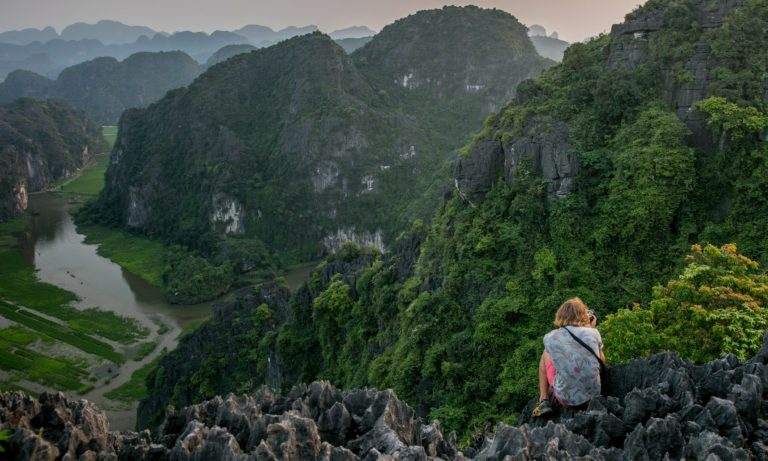 Taking photographs in the mountains of Vietnam
