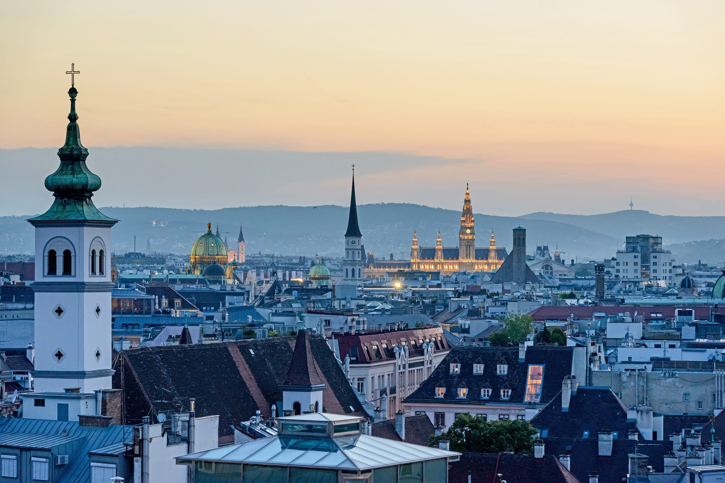 View of Vienna at night
