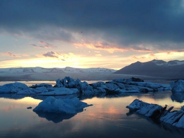 Iceland summer glacier pool