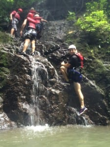 Josh demonstrating hiking/swimming in his kicks.