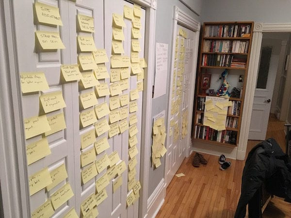Brainstorming with Post-It notes, Montreal retreat