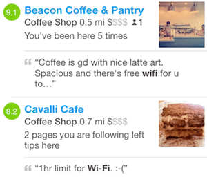 Foursquare search results for places nearby with WiFi