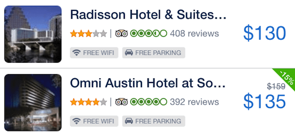 Hipmunk app hotel search results
