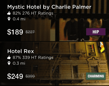 Hotel Tonight app search results