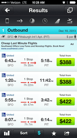 Skyscanner mobile app flight search results