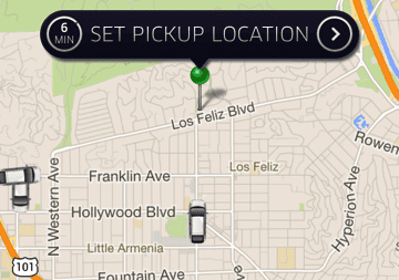Uber app set pickup location
