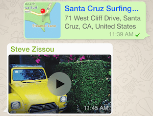 WhatsApp travel messaging app screenshot